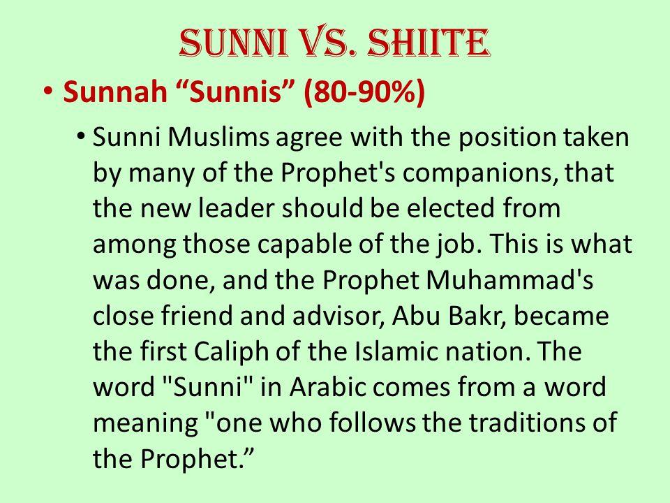 Sunni vs. Shiite Sunnah Sunnis (80-90%)