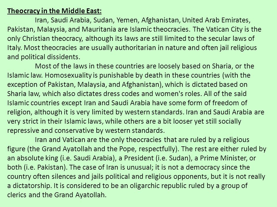 Theocracy in the Middle East: