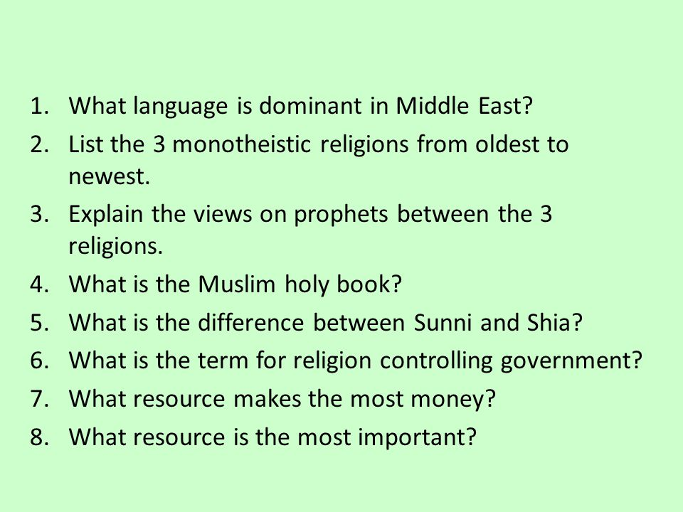 What language is dominant in Middle East