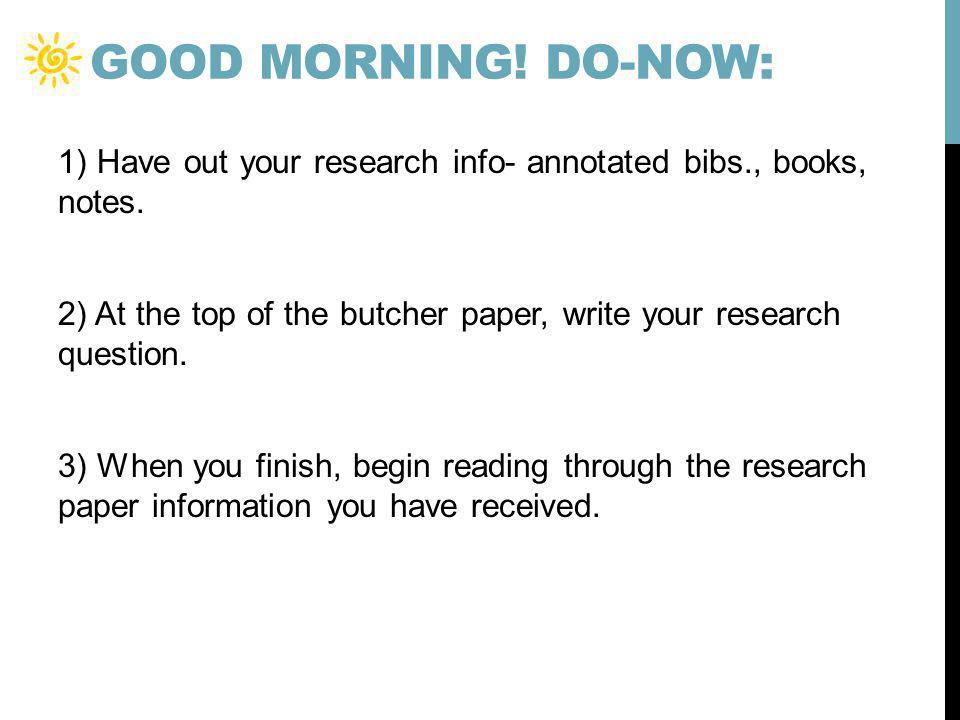 Good morning! Do-now: