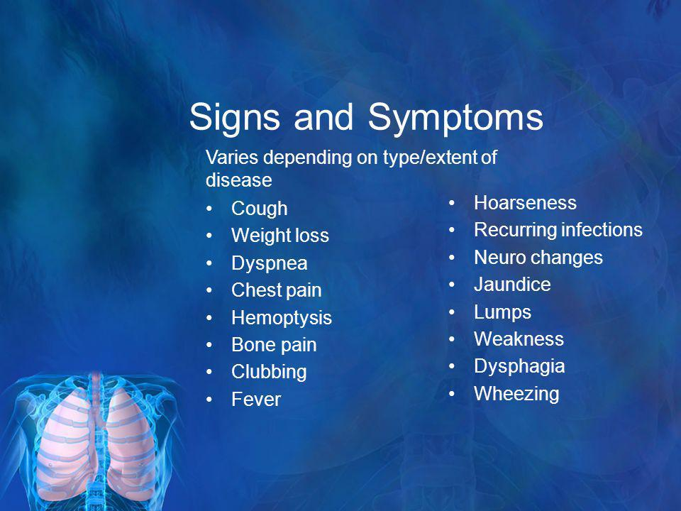 Signs and Symptoms Varies depending on type/extent of disease