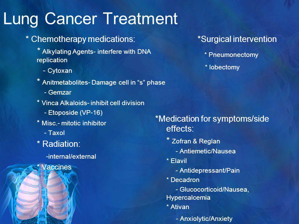Lung Cancer Treatment * Chemotherapy medications: