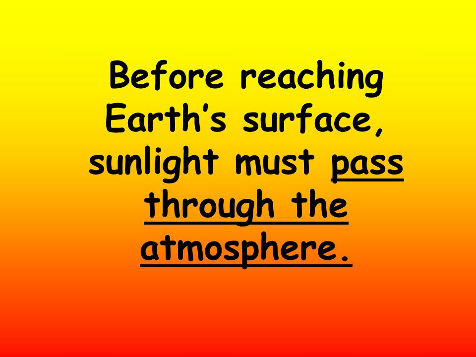 Before reaching Earth's surface, sunlight must pass through the atmosphere.