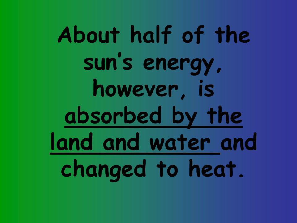 About half of the sun's energy, however, is absorbed by the land and water and changed to heat.
