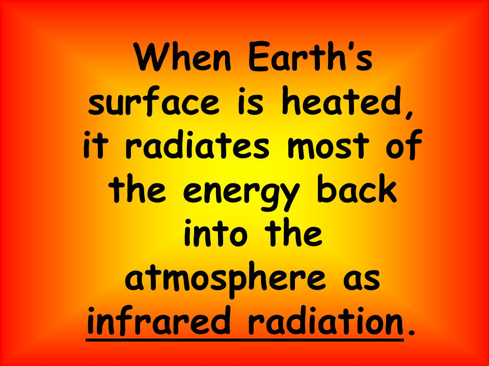 When Earth's surface is heated, it radiates most of the energy back into the atmosphere as infrared radiation.