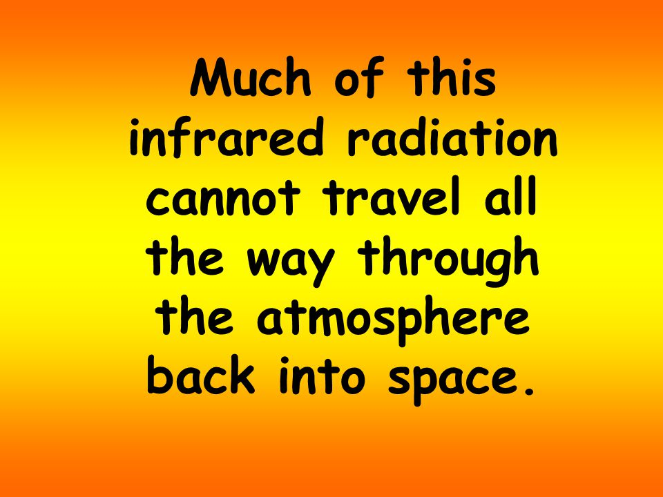 Much of this infrared radiation cannot travel all the way through the atmosphere back into space.