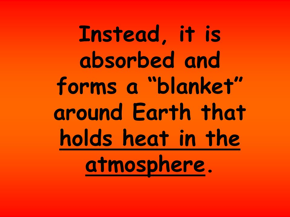 Instead, it is absorbed and forms a blanket around Earth that holds heat in the atmosphere.