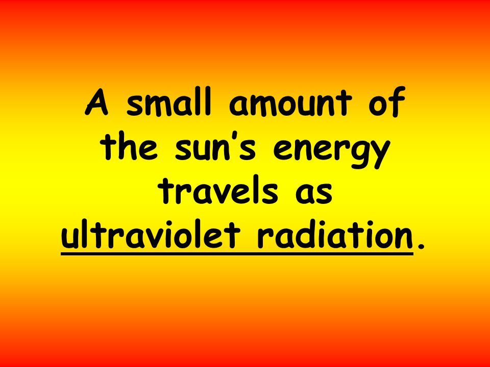 A small amount of the sun's energy travels as ultraviolet radiation.