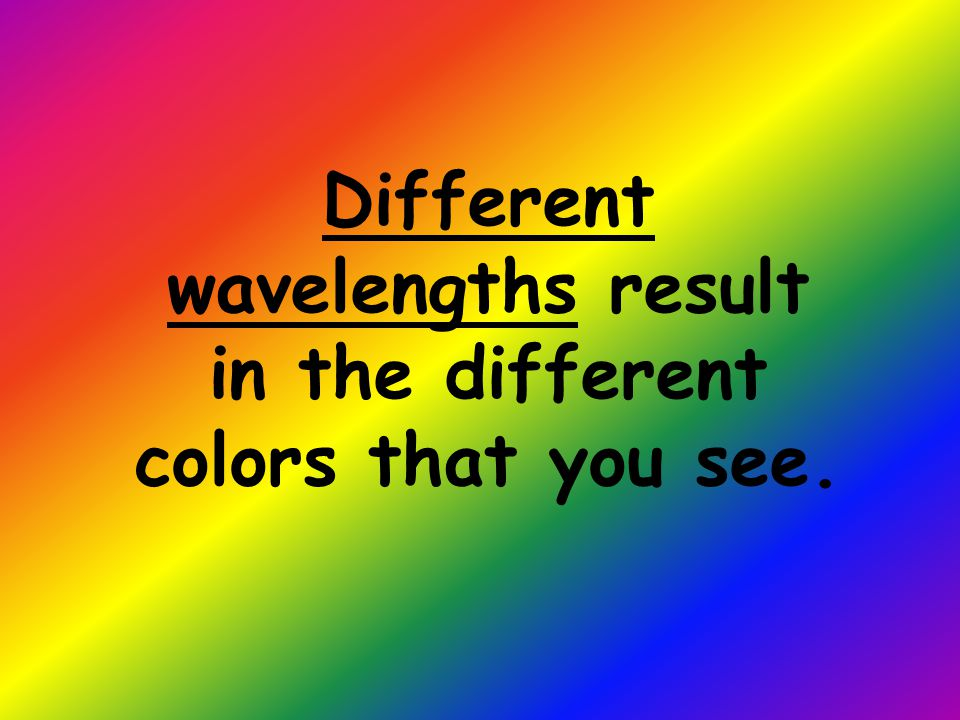 Different wavelengths result in the different colors that you see.