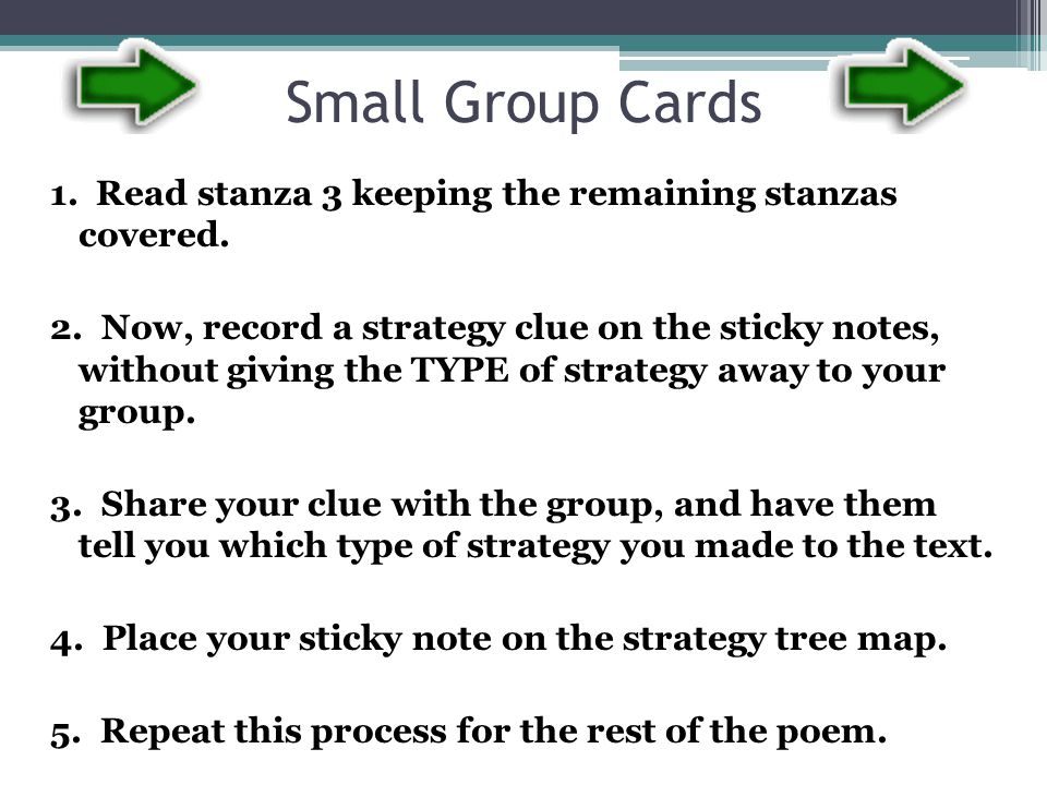 Small Group Cards 1. Read stanza 3 keeping the remaining stanzas covered.