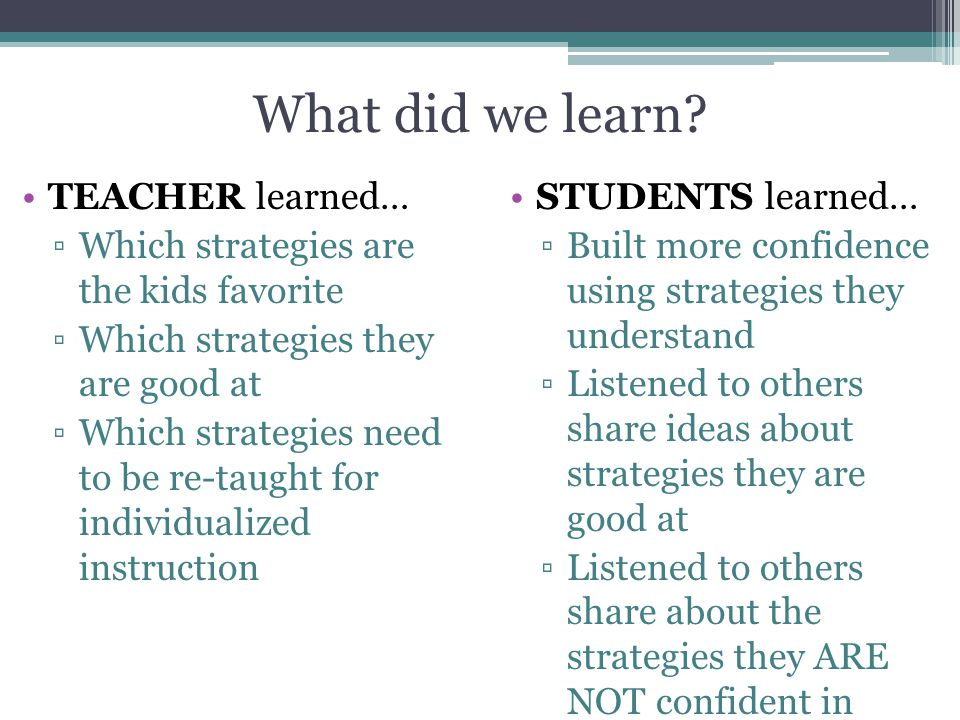 What did we learn TEACHER learned…