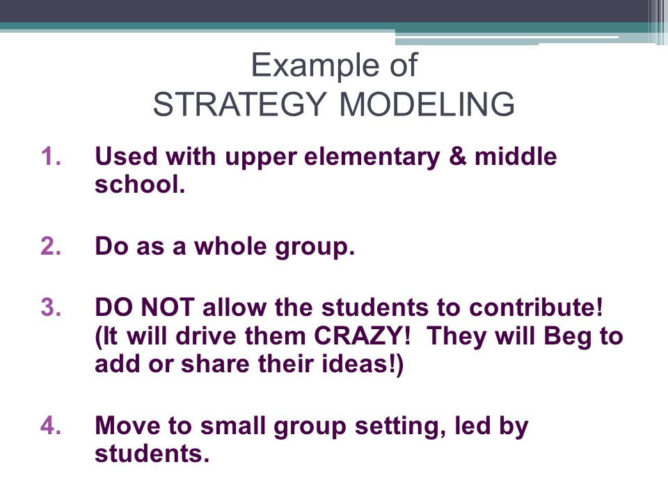 Example of STRATEGY MODELING