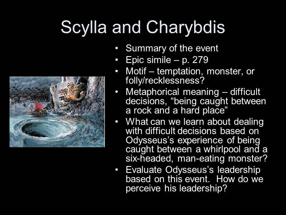 Scylla and Charybdis Summary of the event Epic simile – p. 279