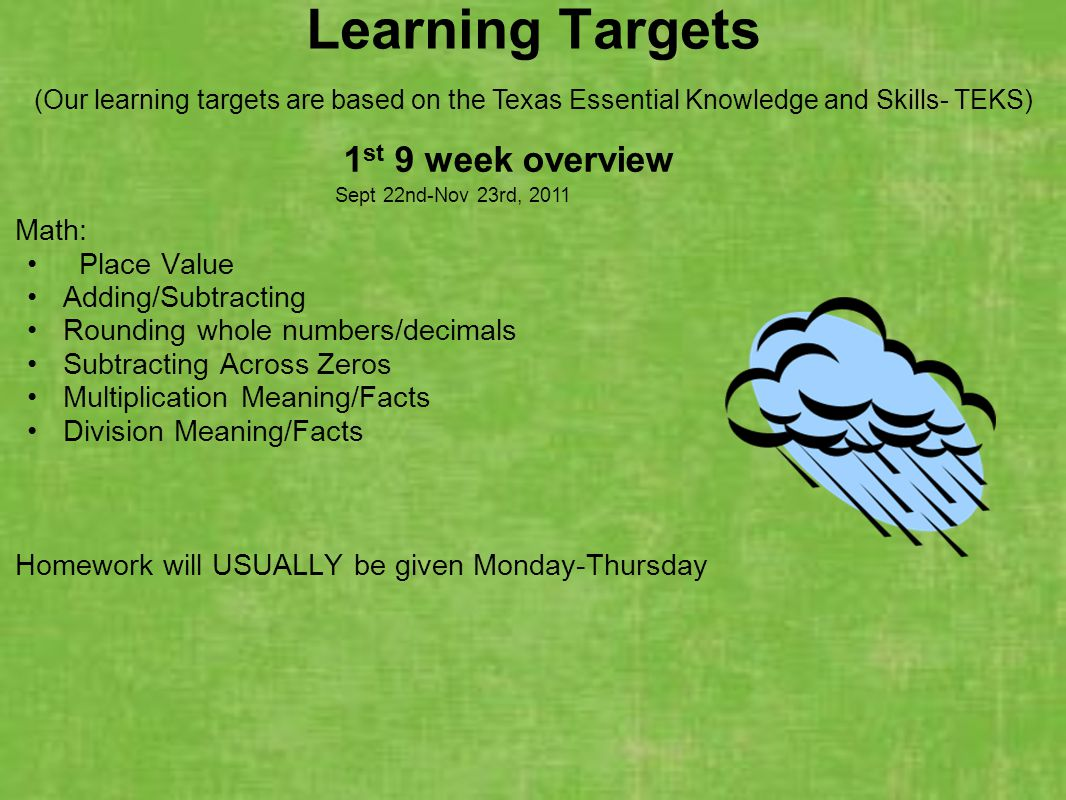 Learning Targets 1st 9 week overview Sept 22nd-Nov 23rd, 2011 Math: