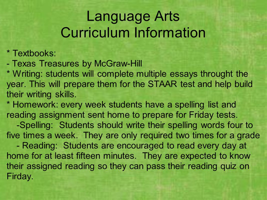 Language Arts Curriculum Information