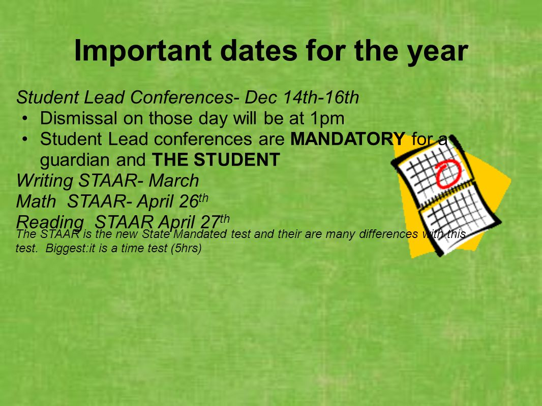 Important dates for the year