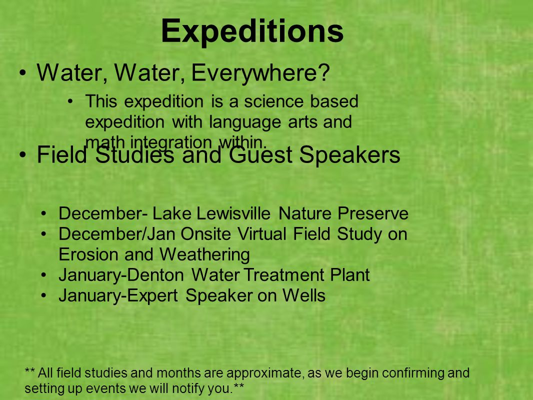 Water, Water, Everywhere Field Studies and Guest Speakers
