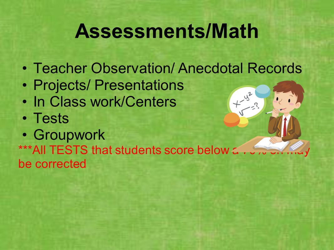 Assessments/Math Teacher Observation/ Anecdotal Records