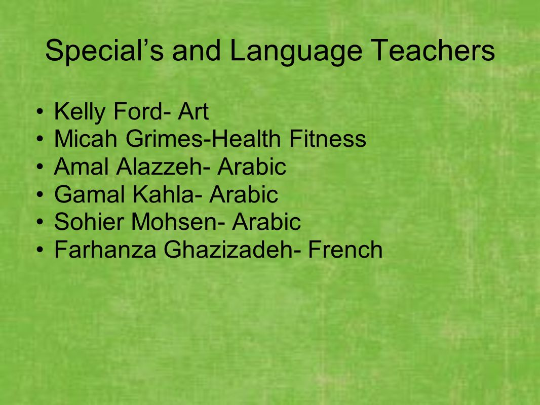 Special's and Language Teachers