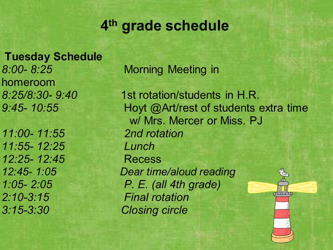 4th grade schedule Tuesday Schedule