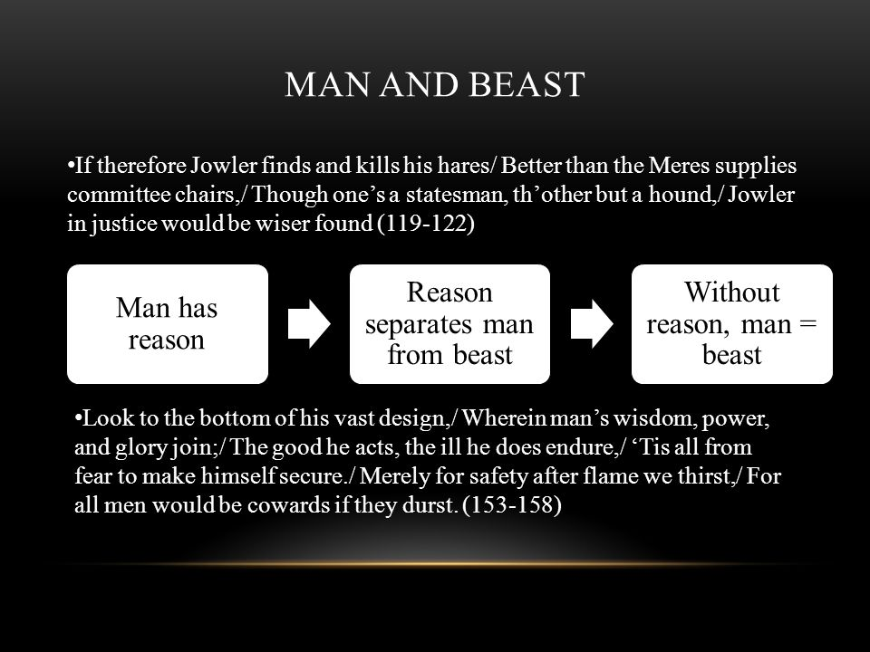 Man and Beast Man has reason Reason separates man from beast