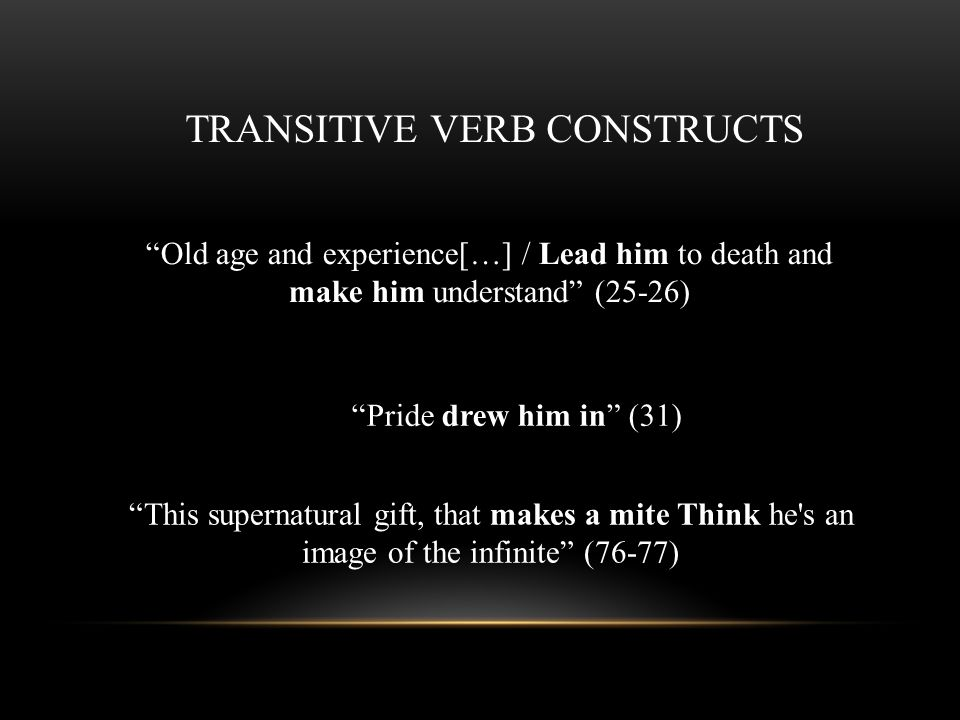 TRANSITIVE VERB CONSTRUCTS