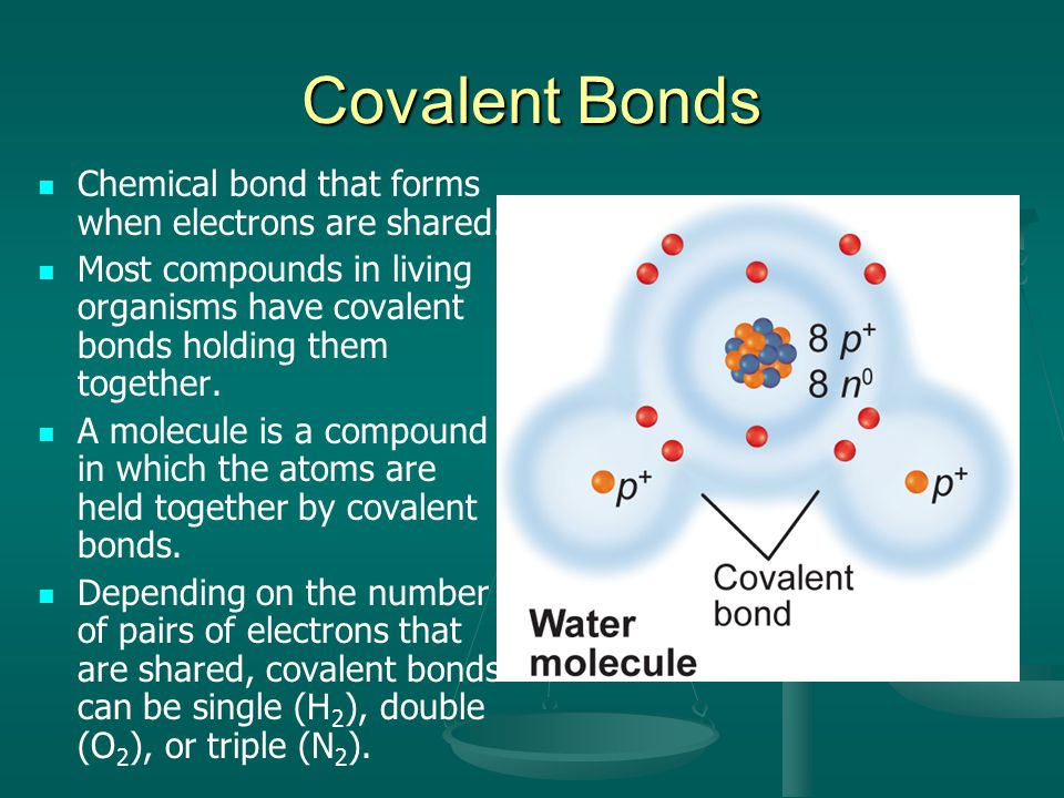 Covalent Bonds Chemical bond that forms when electrons are shared.
