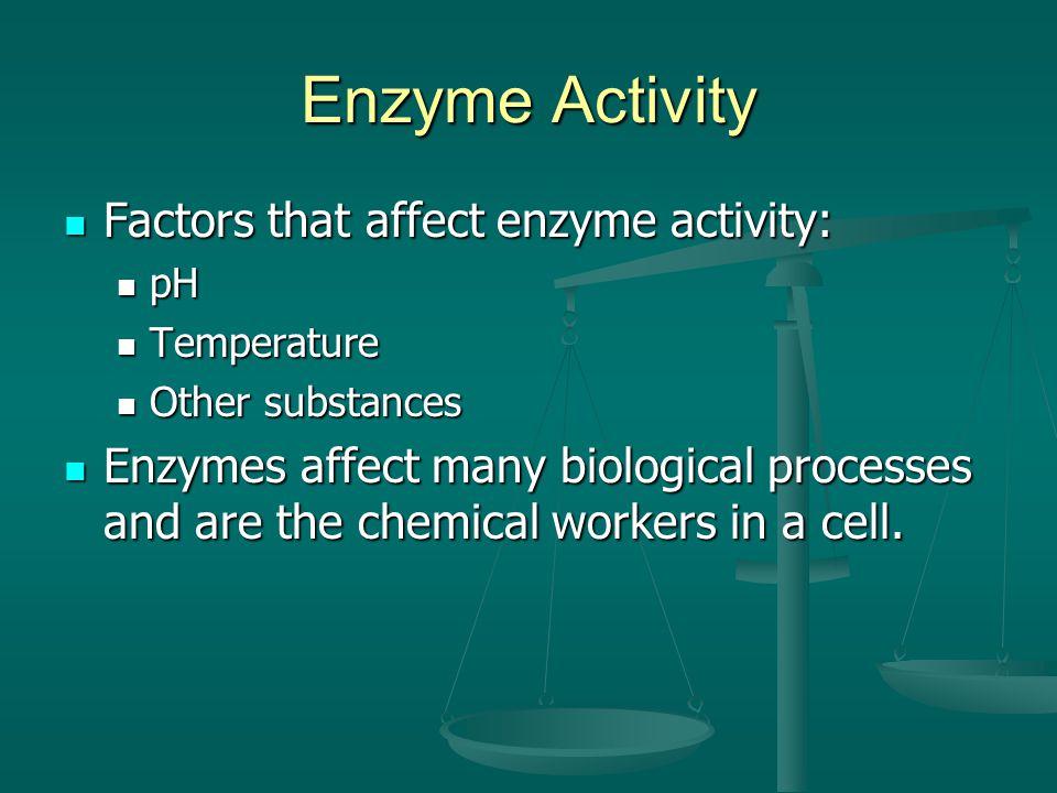 Enzyme Activity Factors that affect enzyme activity: