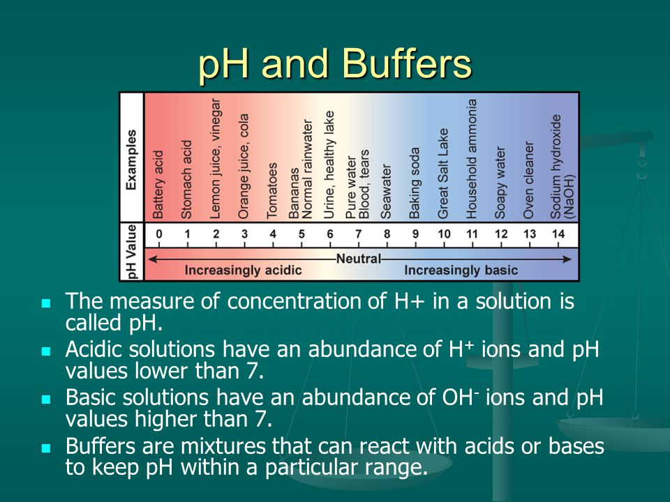 pH and Buffers The measure of concentration of H+ in a solution is called pH.