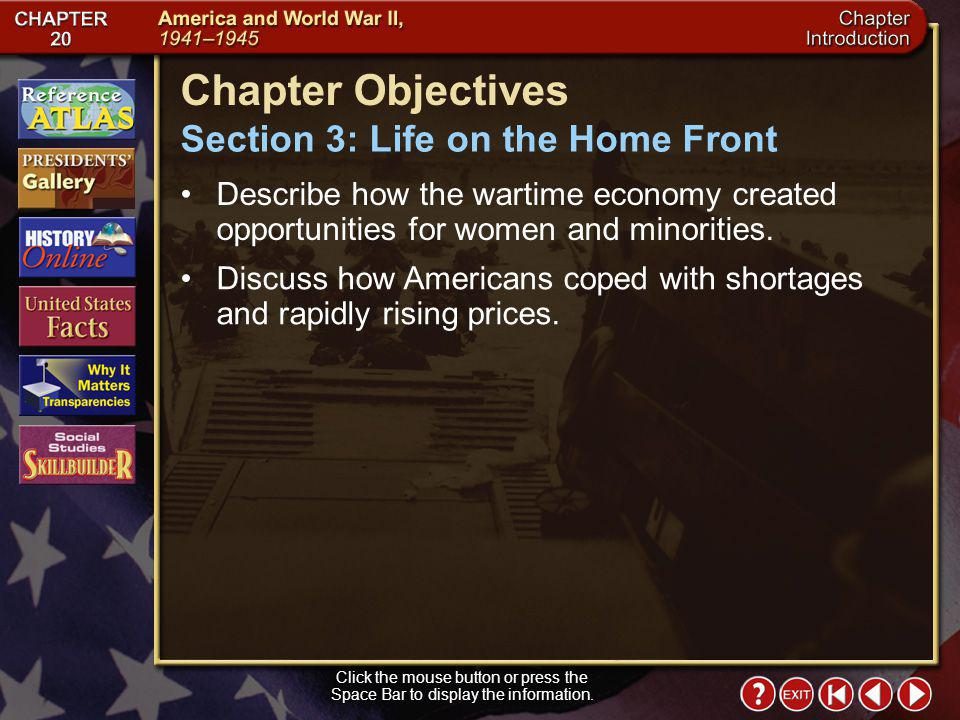 Chapter Objectives Section 3: Life on the Home Front