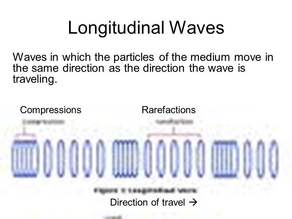 Longitudinal Waves Waves in which the particles of the medium move in the same direction as the direction the wave is traveling.