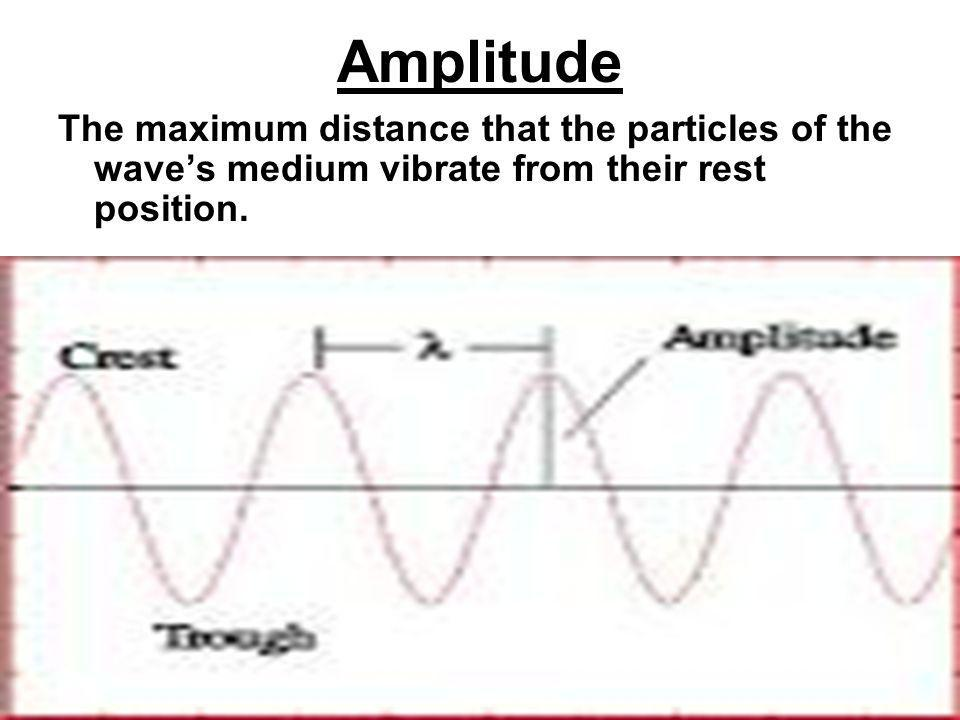 Amplitude The maximum distance that the particles of the wave's medium vibrate from their rest position.