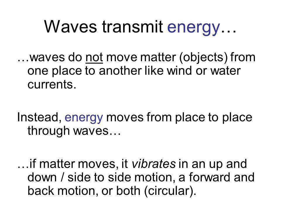 Waves transmit energy…