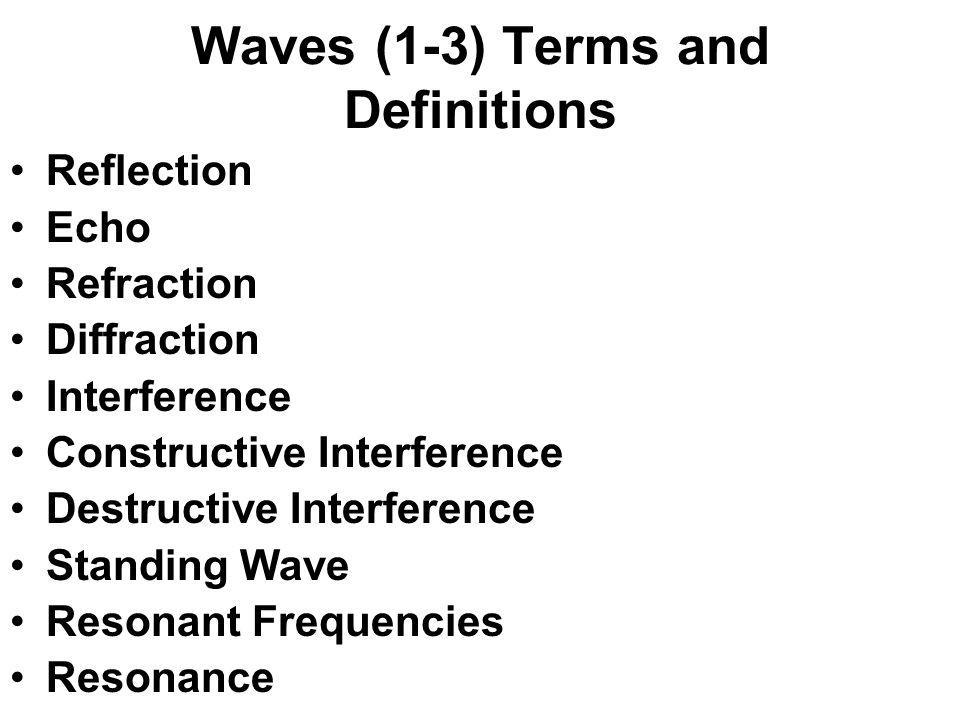 Waves (1-3) Terms and Definitions
