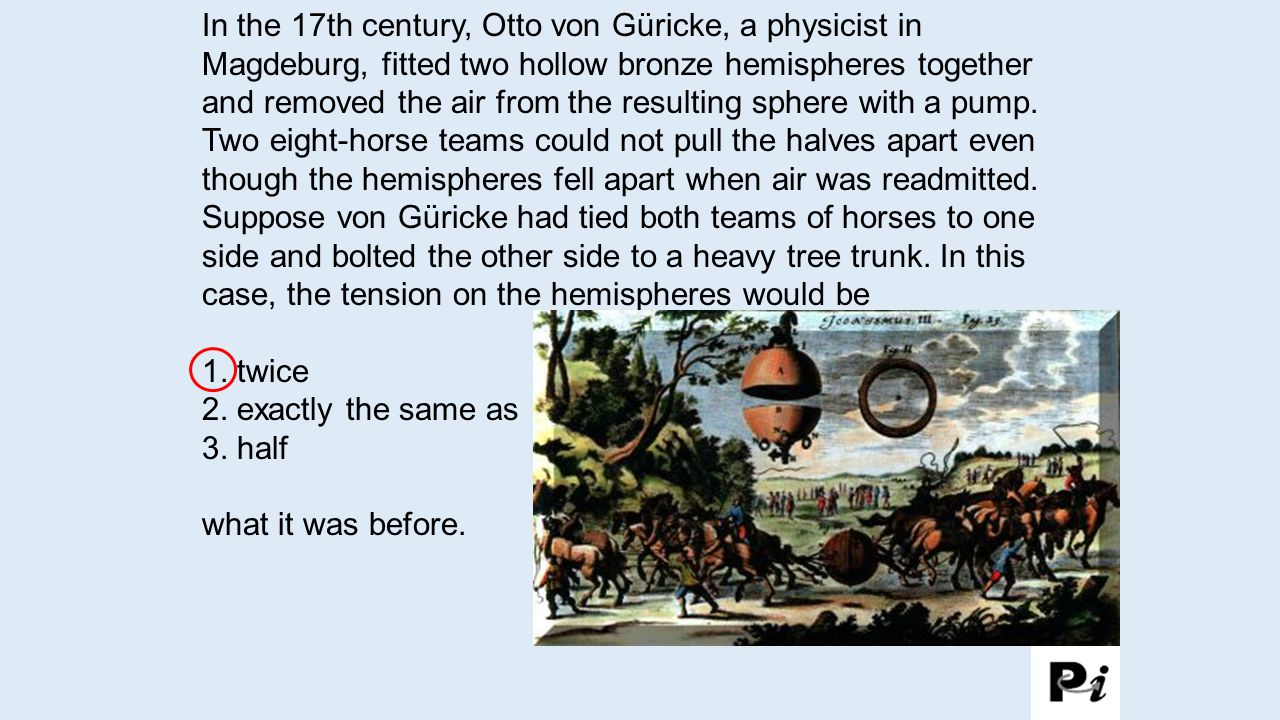 In the 17th century, Otto von Güricke, a physicist in Magdeburg, fitted two hollow bronze hemispheres together and removed the air from the resulting sphere with a pump. Two eight-horse teams could not pull the halves apart even though the hemispheres fell apart when air was readmitted. Suppose von Güricke had tied both teams of horses to one side and bolted the other side to a heavy tree trunk. In this case, the tension on the hemispheres would be