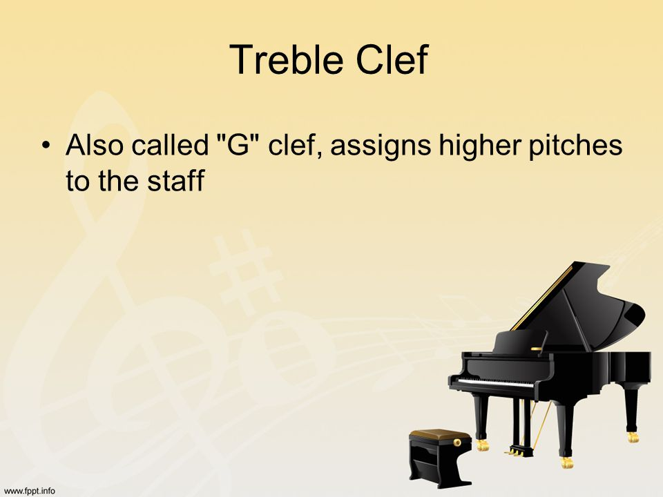 Treble Clef Also called G clef, assigns higher pitches to the staff
