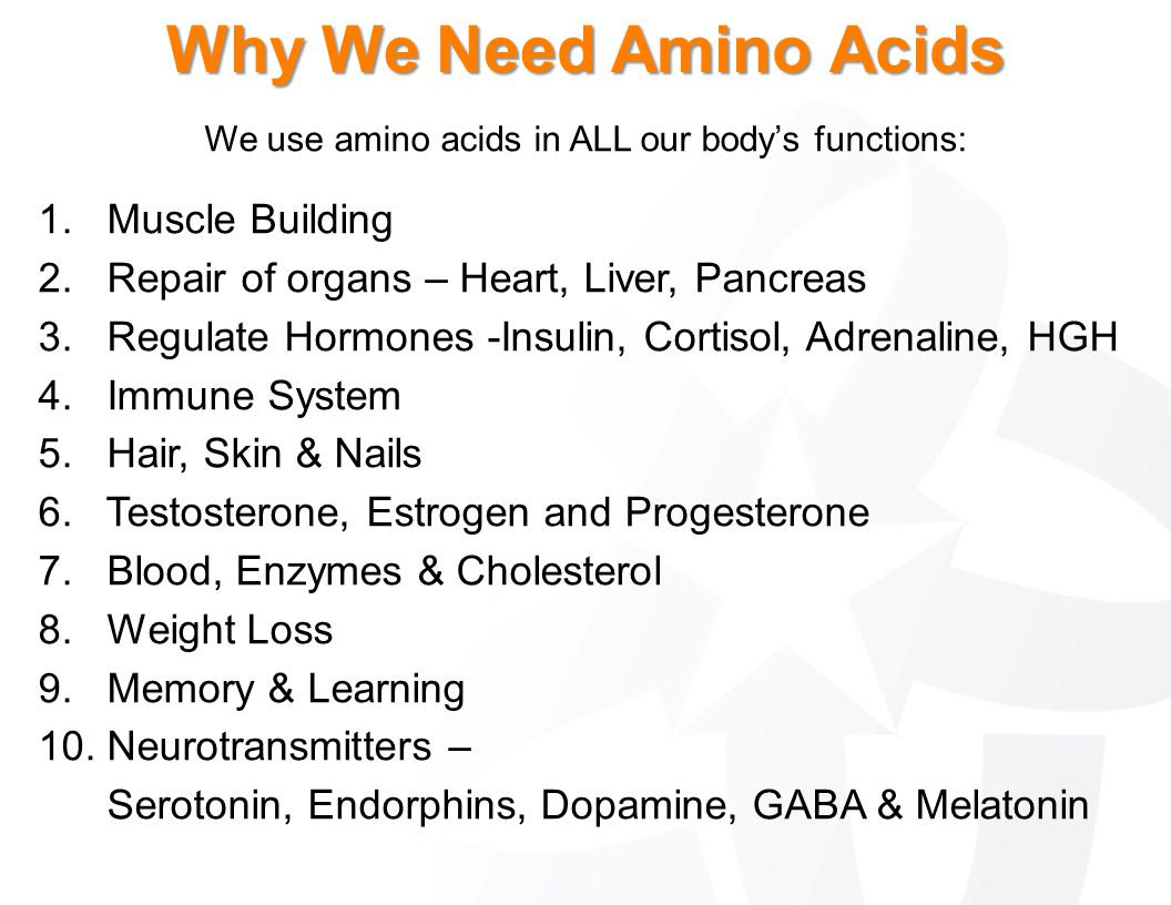 We use amino acids in ALL our body's functions: