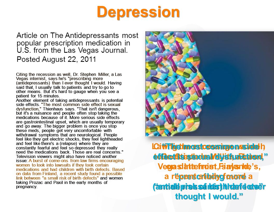 Depression Article on The Antidepressants most popular prescription medication in U.S. from the Las Vegas Journal. Posted August 22, 2011