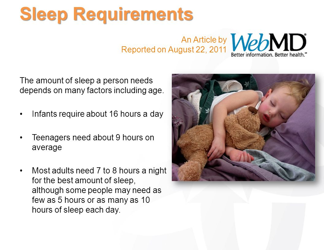 Sleep Requirements An Article by Reported on August 22, 2011