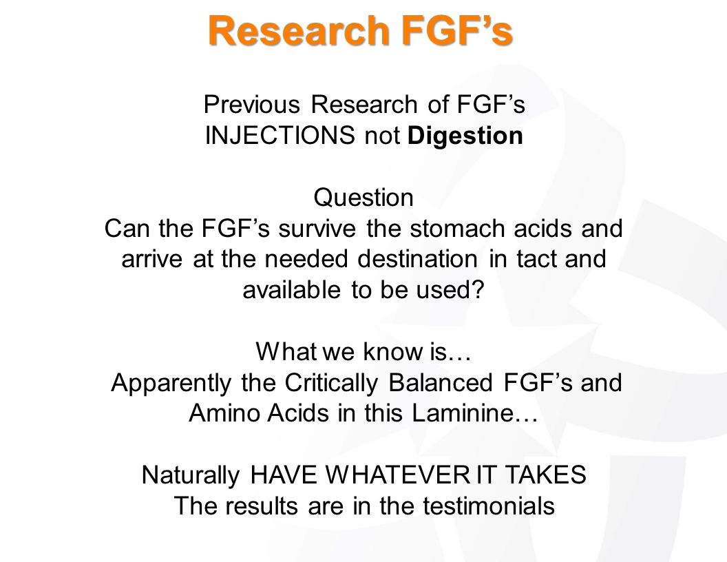 Research FGF's Previous Research of FGF's INJECTIONS not Digestion