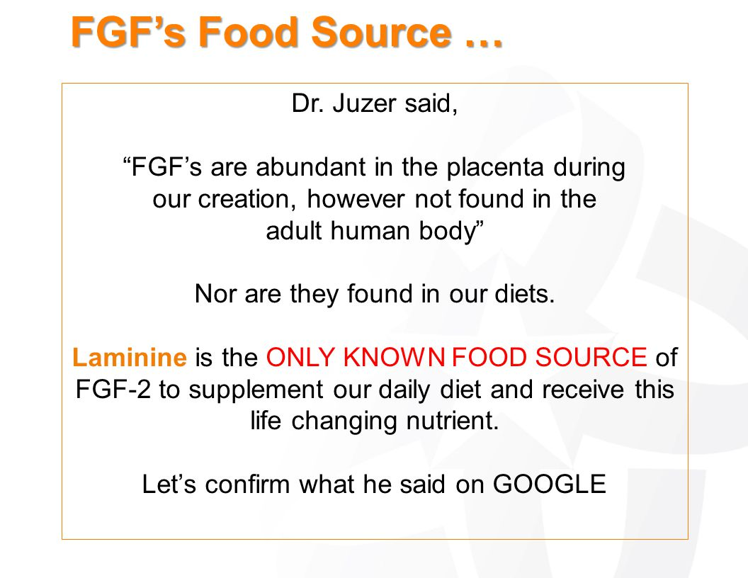 FGF's Food Source … Dr. Juzer said,