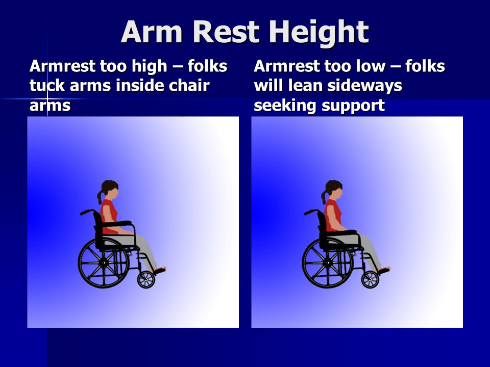 Arm Rest Height Armrest too high – folks tuck arms inside chair arms