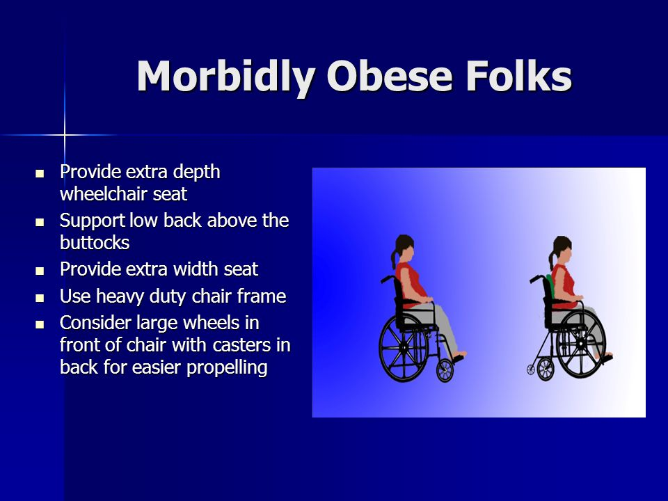 Morbidly Obese Folks Provide extra depth wheelchair seat