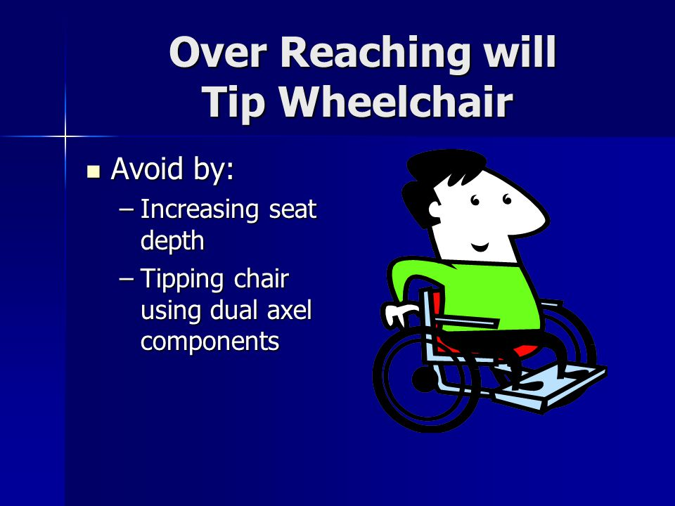 Over Reaching will Tip Wheelchair