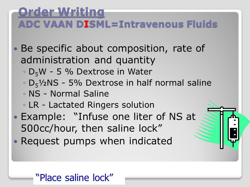 Order Writing ADC VAAN DISML=Intravenous Fluids