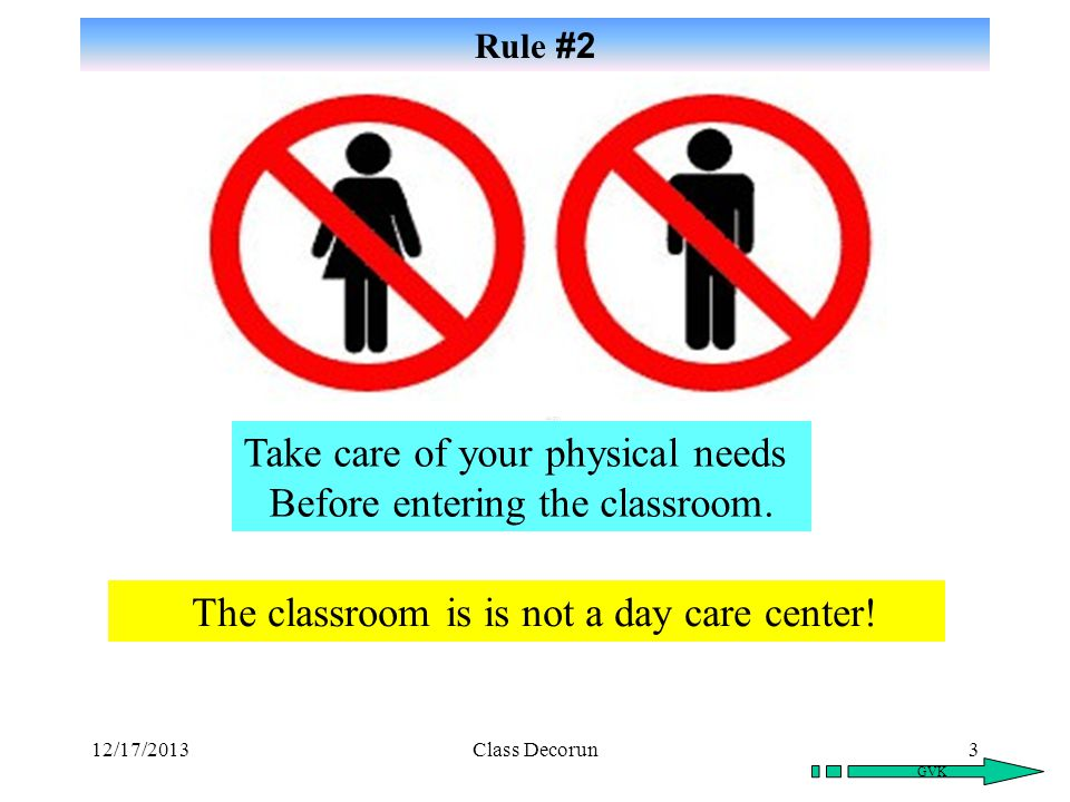 Take care of your physical needs Before entering the classroom.