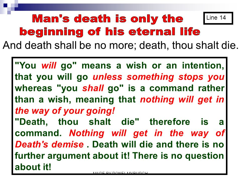 beginning of his eternal life
