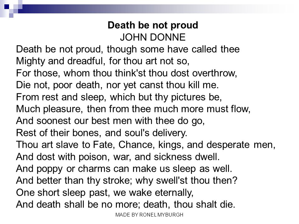 death be not proud john donne made by ronel myburgh ppt video 3 death be not proud