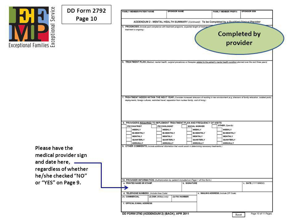 Completed by provider DD Form 2792 Page 10