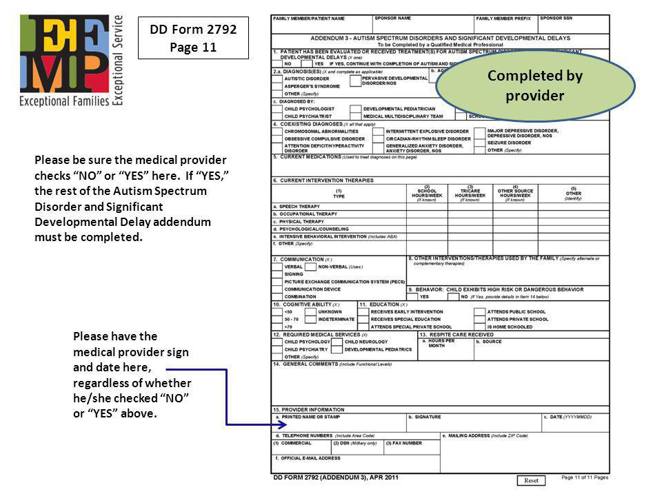 Completed by provider DD Form 2792 Page 11